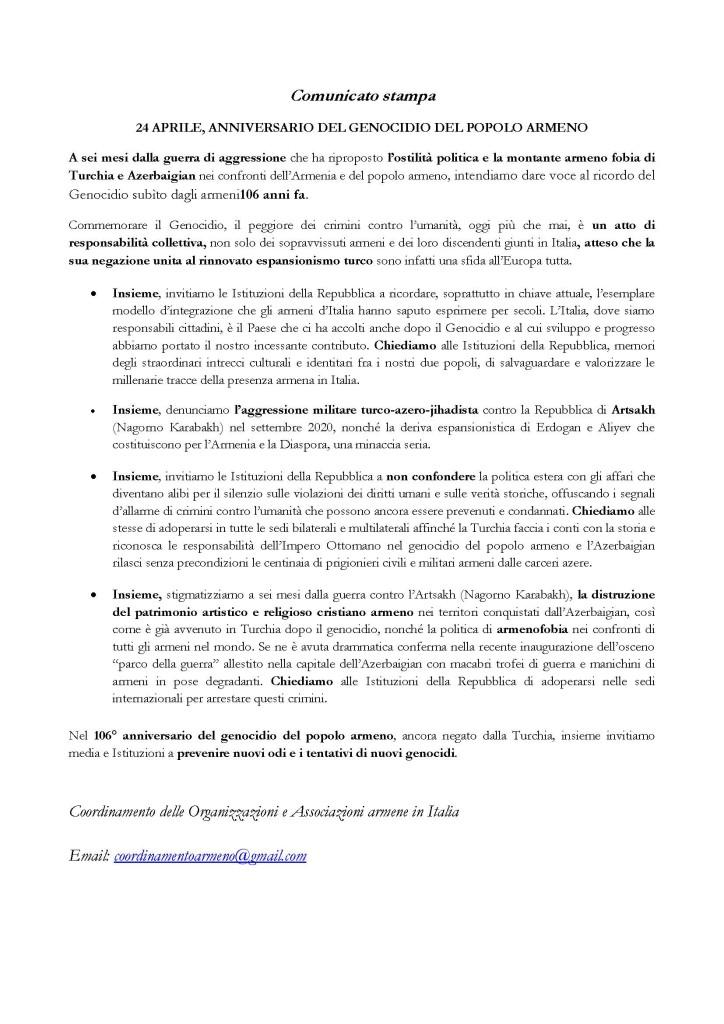 Comunicato 106° Anniversario Genocidio degli Armeni
